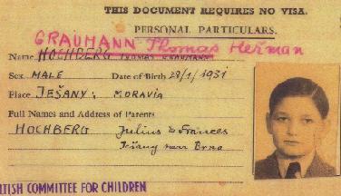 kartička, která Thomasi Graumannovi umožnila odjet vlakem do Londýna a uniknout tak případné smrti v koncentračním táboře