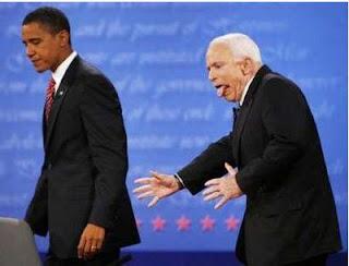 John McCain Gags On Mistaken Debate Direction Behind Obama
