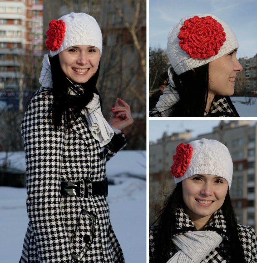 Вязанная шапка розовая