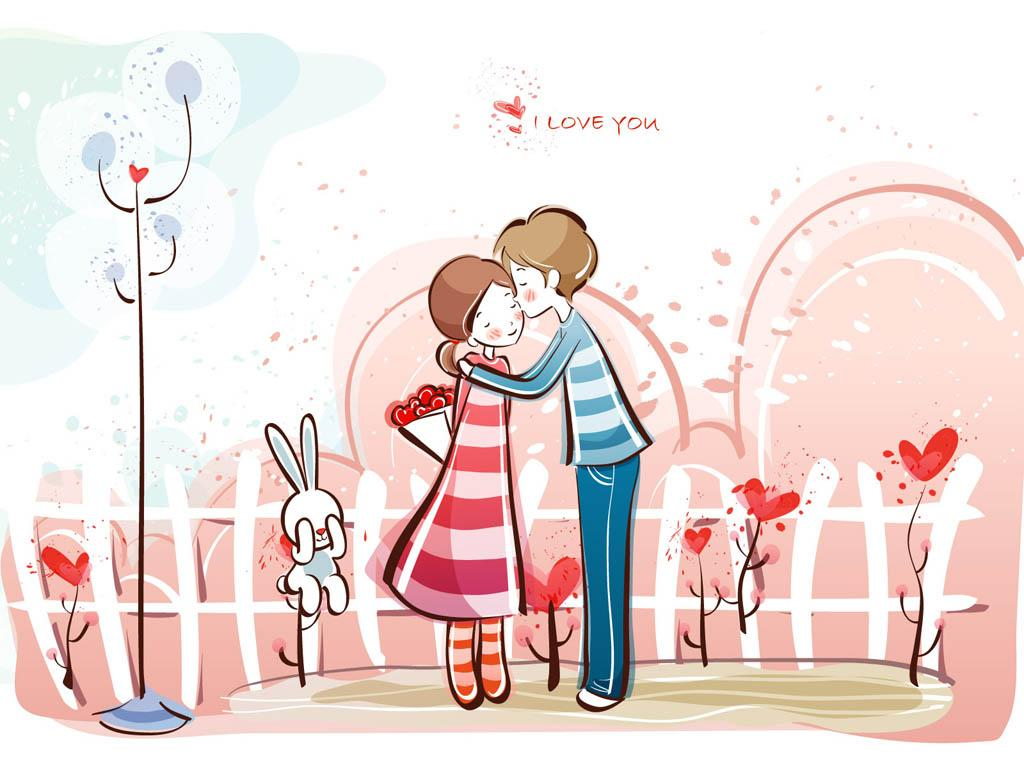 Love couple Valentine Wallpaper : SomeWhereOverTheRainbow: Sweet couple cartoons