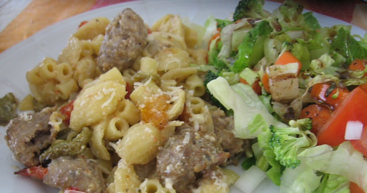 Recipes For Laughter: Orecchiette with Sausage and Roasted Peppers