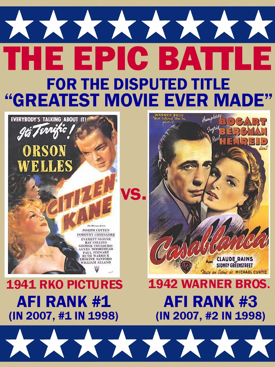 seth saith citizen kane vs casablanca a classic debate what is the greatest movie ever made obviously it is a subjective question for any two people let alone dozens thousands or millions likely couldn t