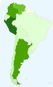 Países de Suramerica donde se ha visto esta pagina (Coloreados en verde)