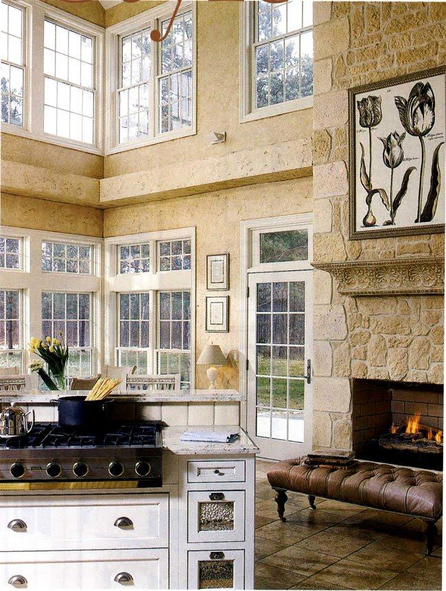 white kitchen with sitting area