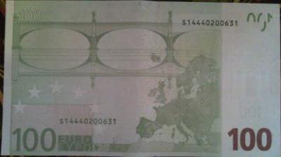 100 евро, тыльная сторона