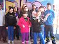 Nossa turma na frente do grafite da Escola Salgado Filho.