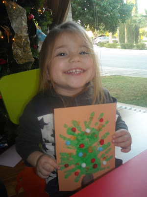 toddler craft hand print Christmas Tree card