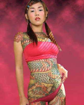 Full Body Dragon Tattoo motif Design. extreme tattoos, so colorful and nice