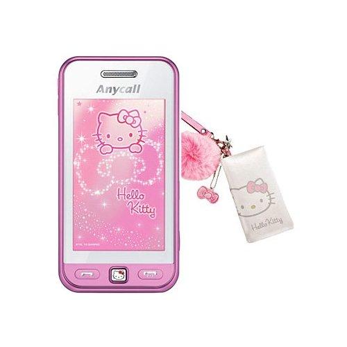 Телефон выполнен в розовом и белом цветах, под экраном размещен доготип hello kitty