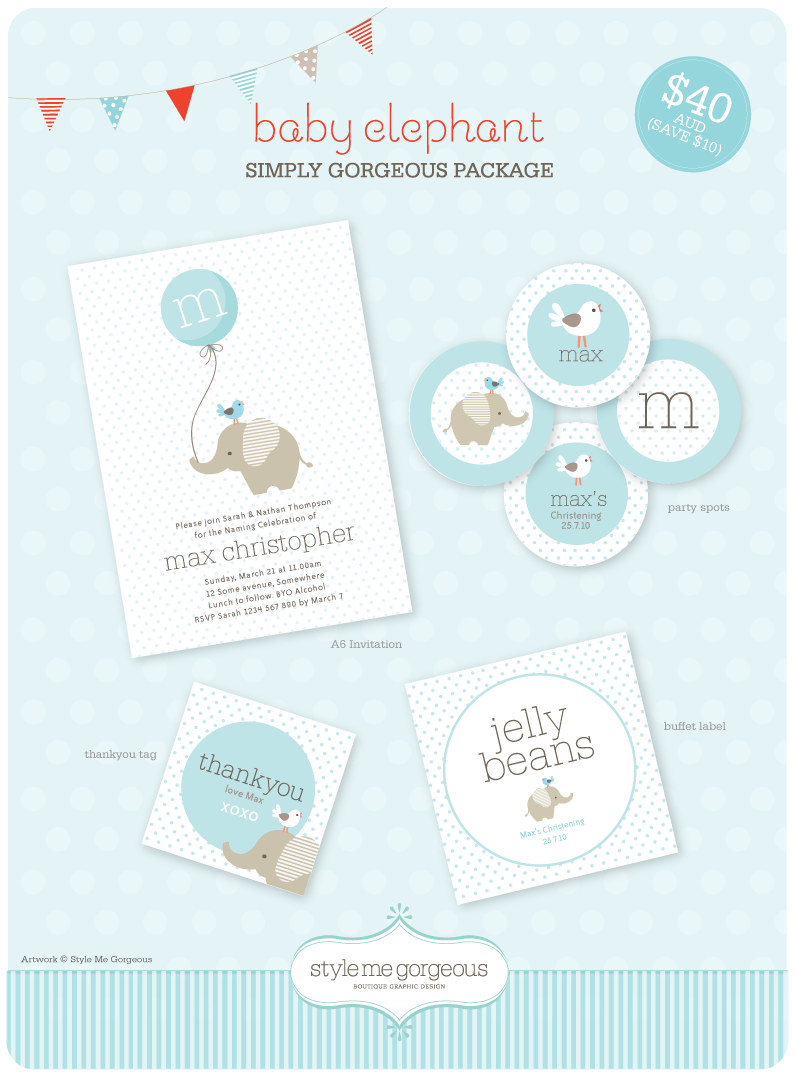 Style me gorgeous printable party decor baby elephant for Style me gorgeous