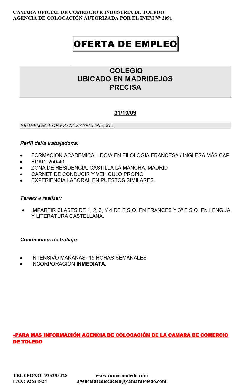Area empleo oferta de empleo en madridejos for Ofertas de trabajo en gava