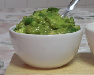 Guacamole, lightened just a bit with delicious charred tomatillos
