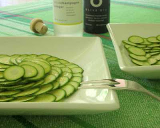 Thin-sliced zucchini, dressed with (very very) good oil & vinegar