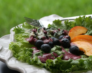 Blueberries in a vinaigrette, beautiful color
