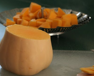 How to cut a butternut squash into cubes.