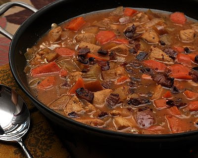 Chicken Cider Stew | colorful fall stew with chicken, sweet potatoes, carrots with apple cider | Weight Watchers PointsPlus 5 | Kitchen Parade