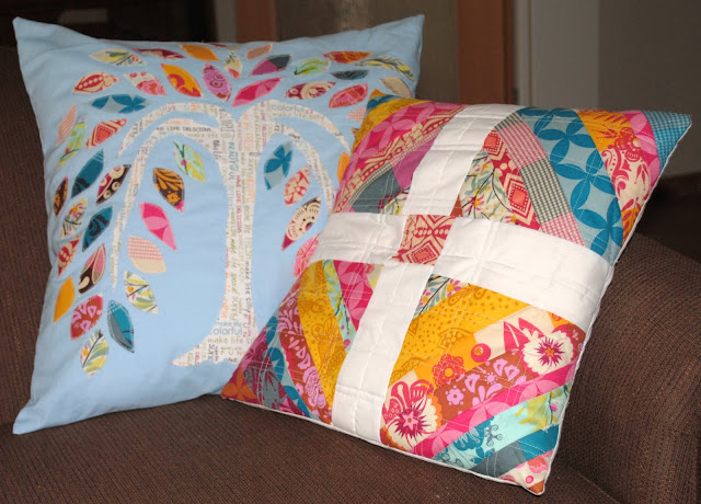appliqued tree pillow