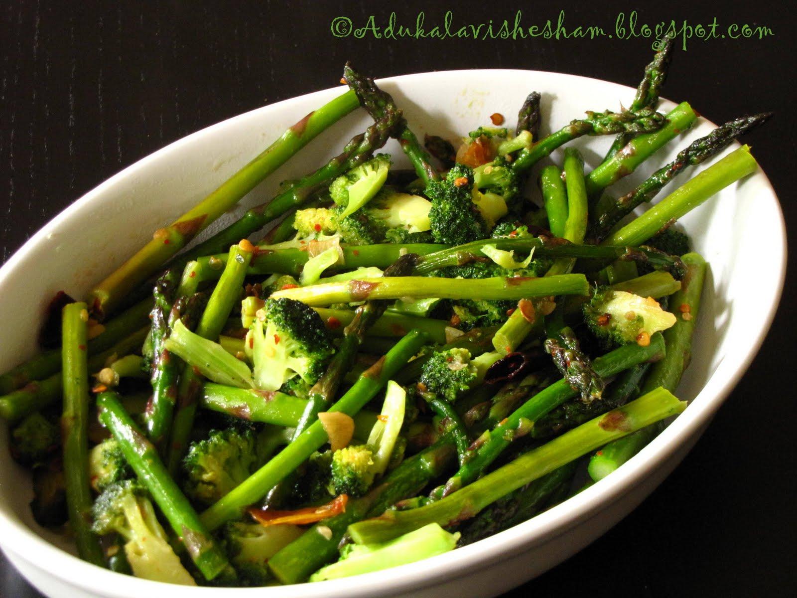 Adukala Vishesham: Broccoli Asparagus Stir Fry