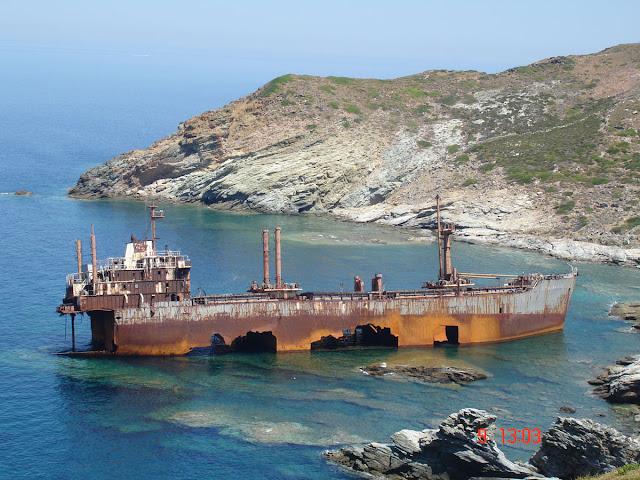 Shipwreck of the Semiramis near Vori beach Andros island Greece