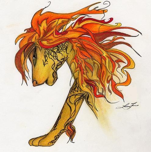 Cartoon yellow lion tattoo.