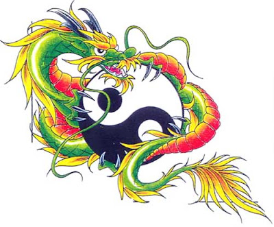 Colorful dragon and ying yang tattoo flash.