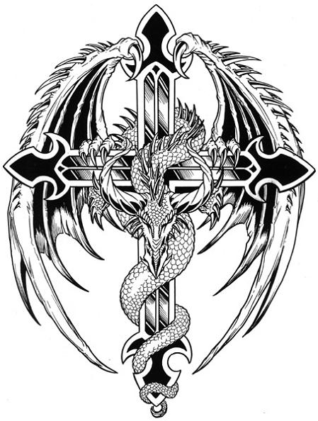 Winged dragon and cross tattoo drawing.