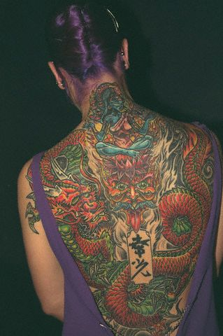 Women Back Piece Japanese Dragon Tattoo Picture 3