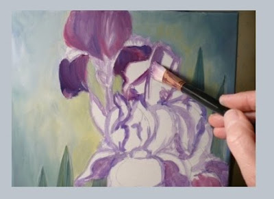 Painting the iris flowers
