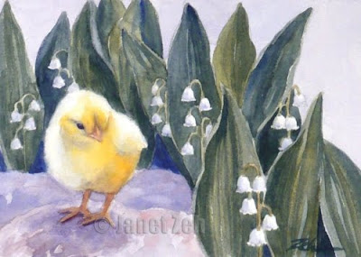 Chick in the Garden watercolor