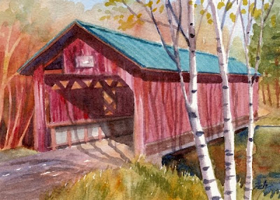 Covered Bridge watercolor painting