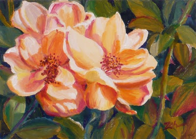 yellow roses oil painting