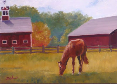 horse and barn oil painting