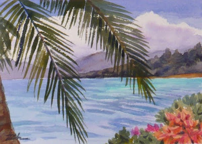 Coconut Island, Hawaii watercolor painting