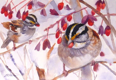 White throated sparrows and red berries watercolor painting