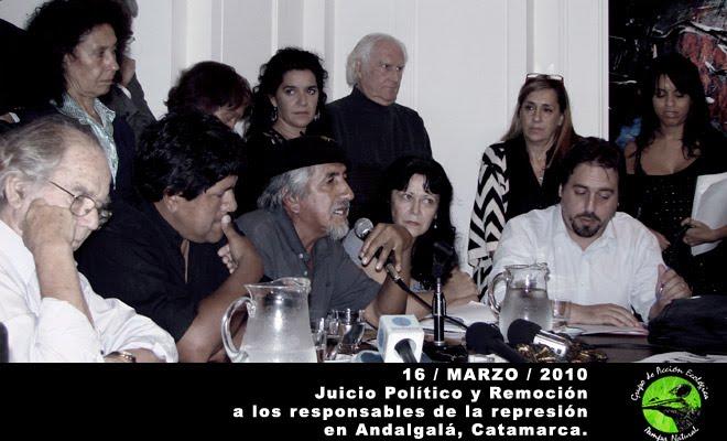 Juicio Político y Remoción a los responsables de la represión en Andalgalá, Catamarca.