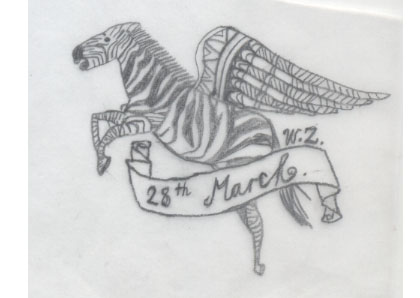so there is a flying zebra tattoo, i quite like it.so cute.