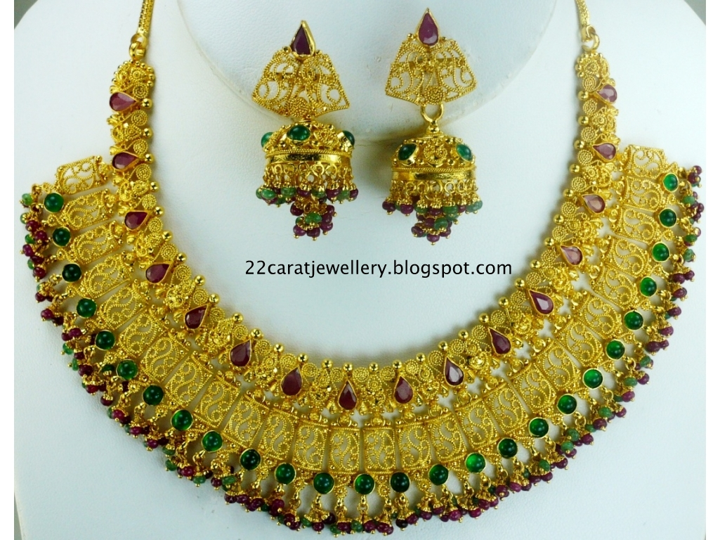 22 Carat Gold Indian Traditional Bridal Jewellery with