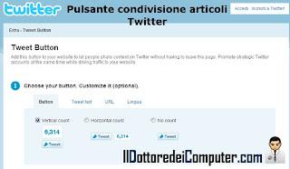 pulsante condivisione articoli twitter