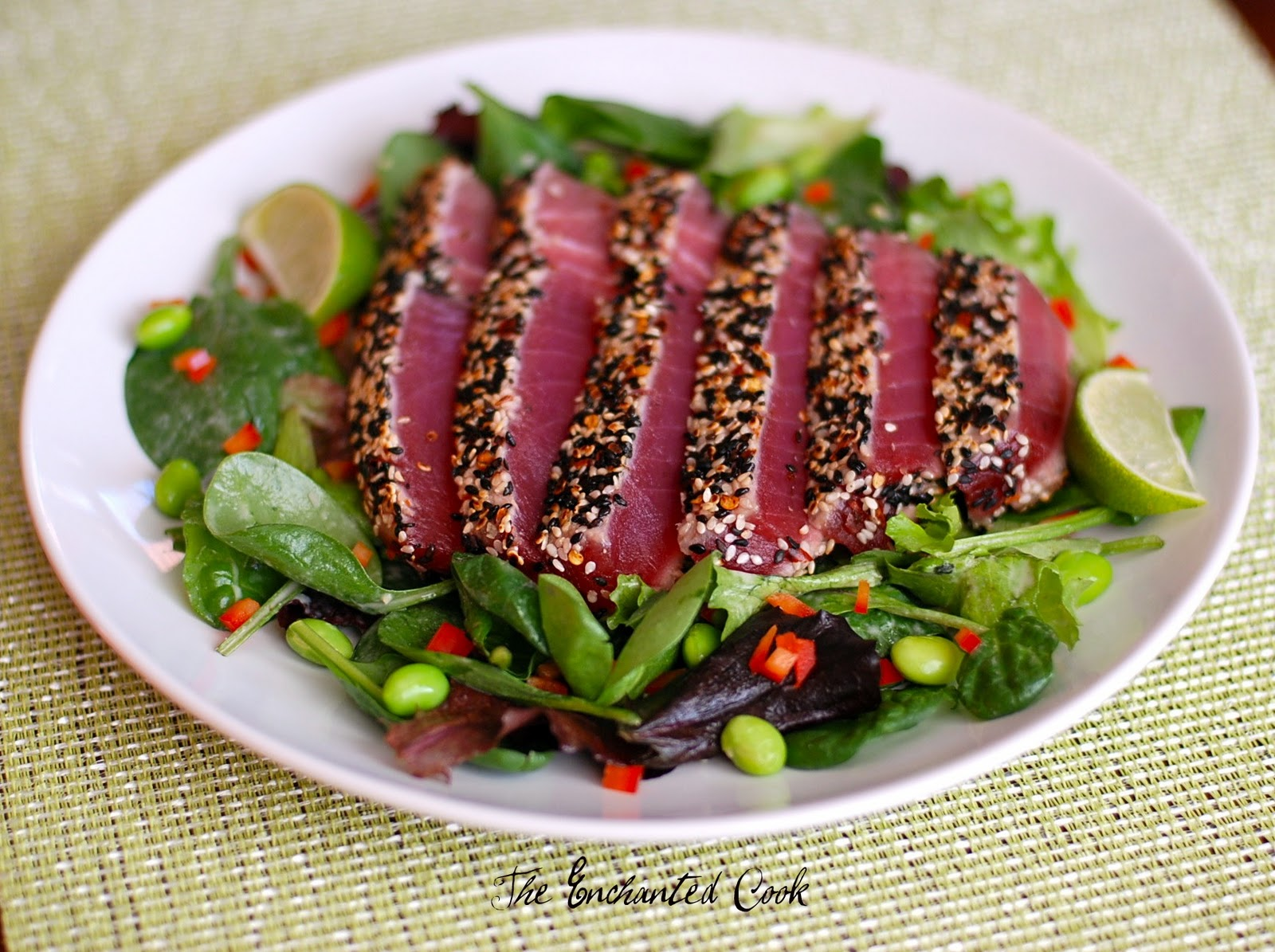 sesame seared tuna with lime ginger vinaigrette seared tuna ...