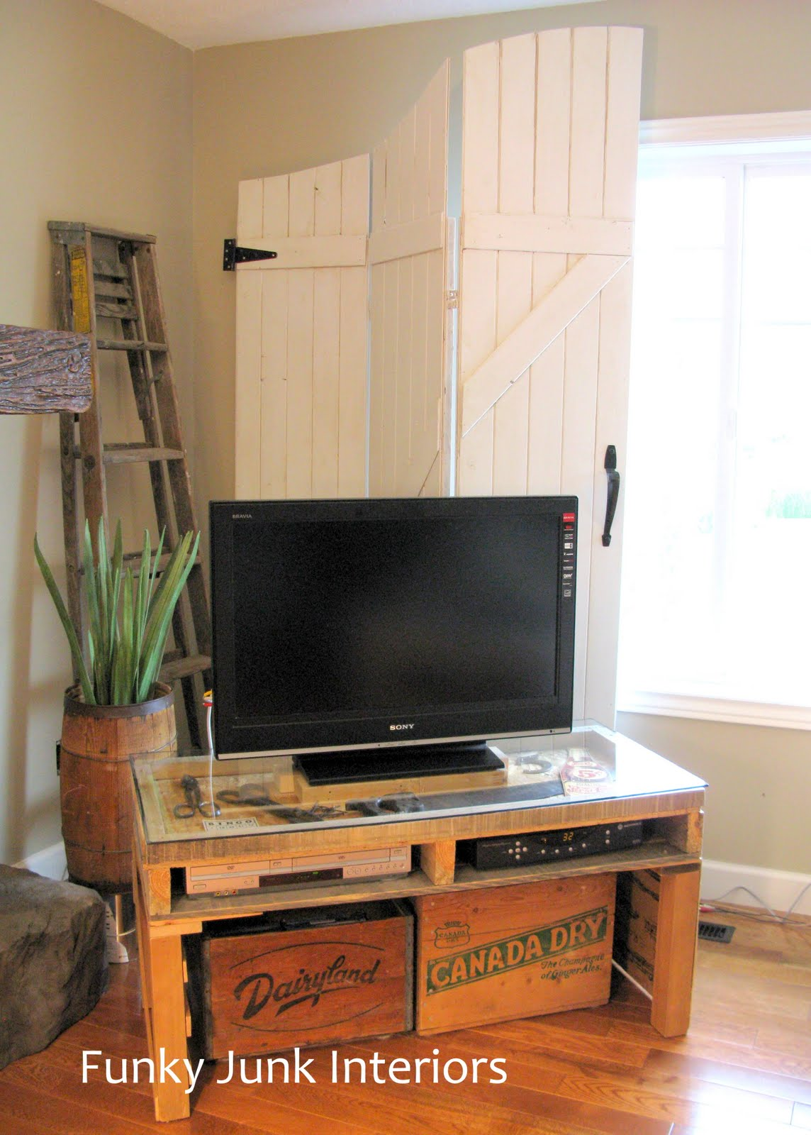 new TV stand made from a pallet | Funky Junk InteriorsFunky Junk ...