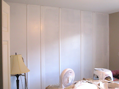 white board and batten /  White Trash Bedroom reveal with old door and gate headboard, via FunkyJunkInteriors.net