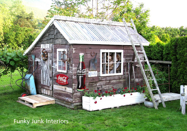 Rustic garden shed with canning jar lid wreath on door