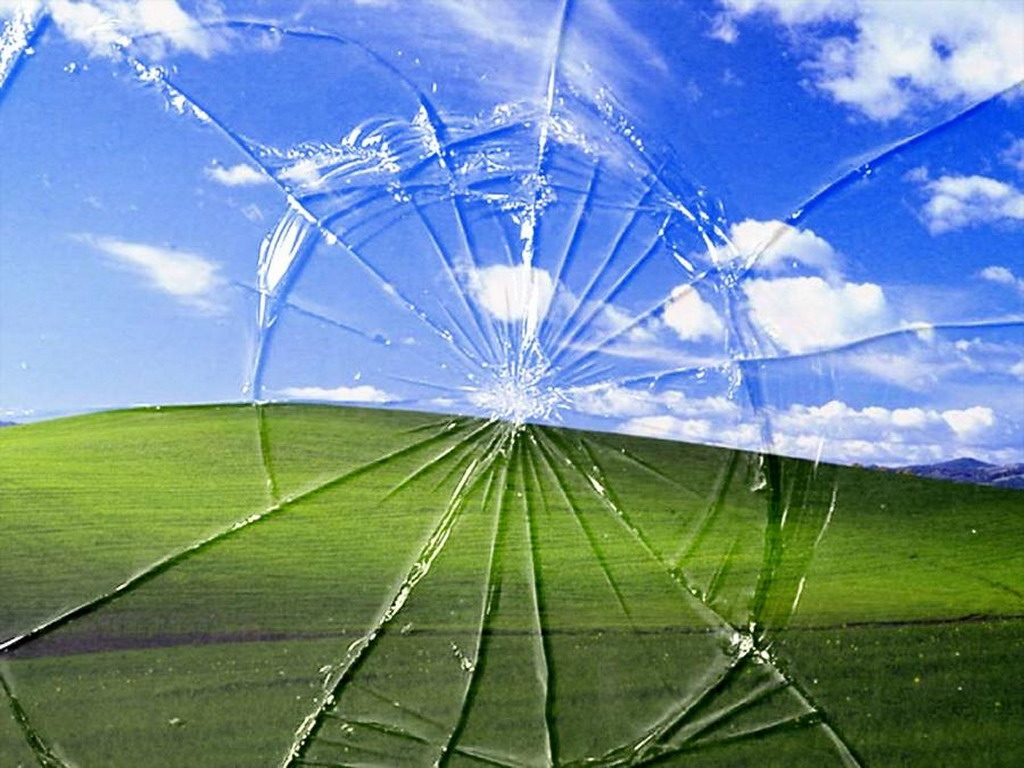 Windows XP Broken Screen Wallpaper