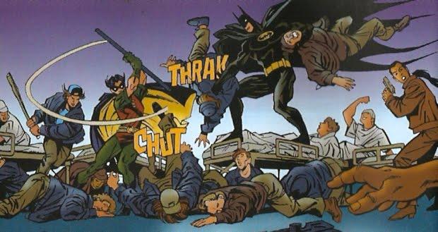 Batman y Robín repartiendo leña en un hospital