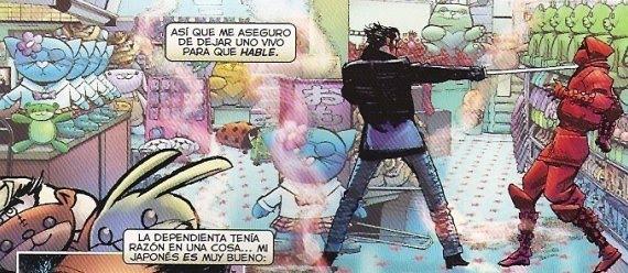 Wolverine dandole uso a la lengua y a la espada