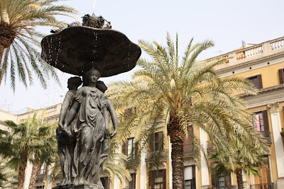 Plaça Reial beside La Rambla in Barcelona