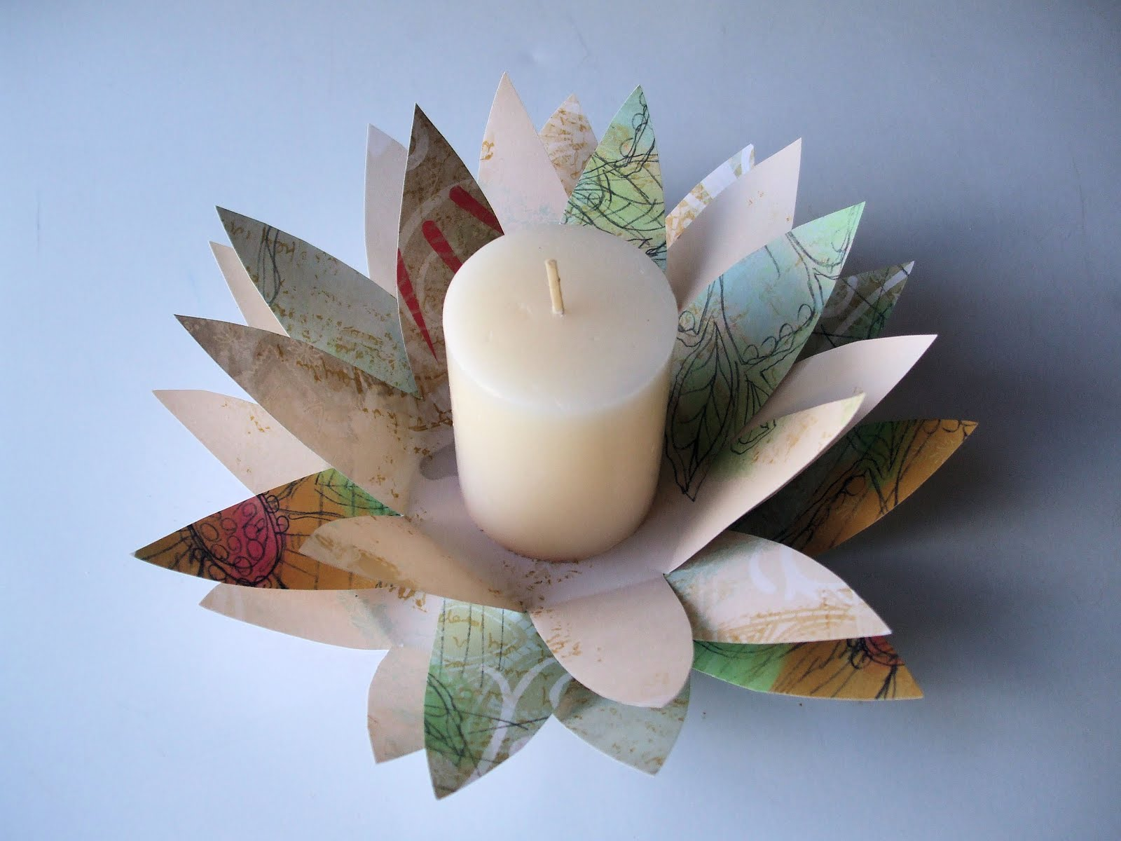 My creative stirrings paper flower candle holder for Cardboard candle holders