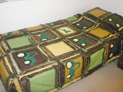 John Deere tractor twin size blanket with minkee or minky rag quilt