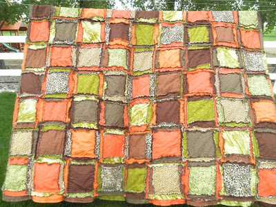 queen size rag quilt comes in orange, green, leopard print, and brown