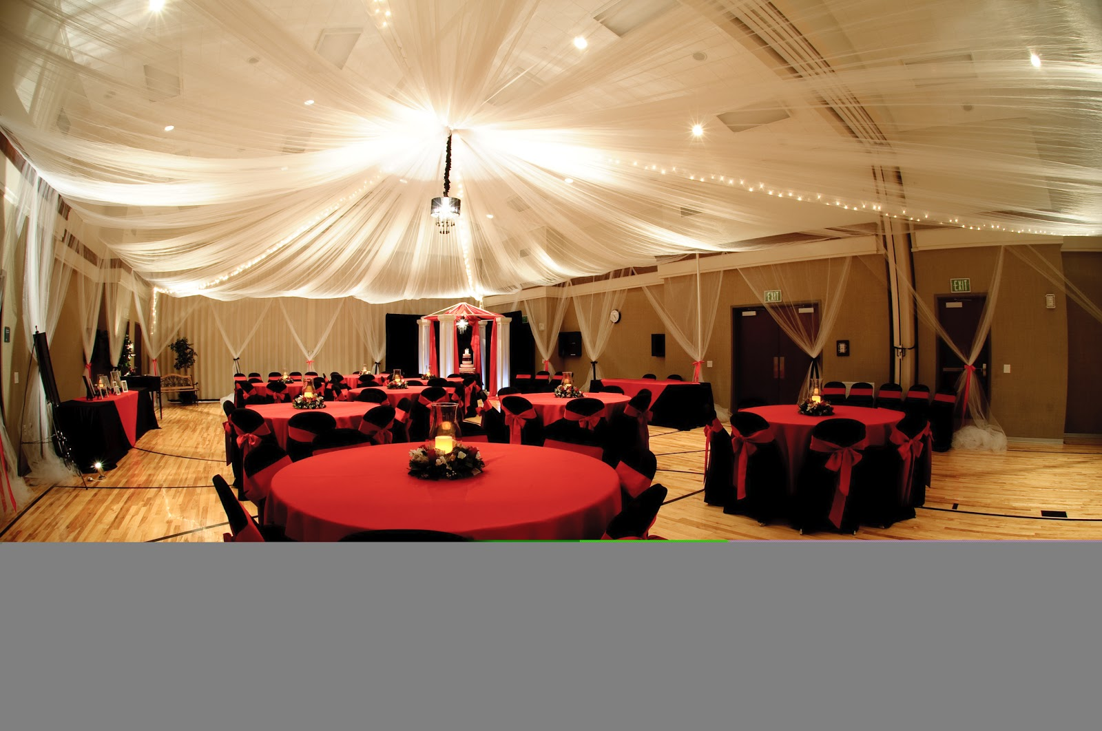 Wedding decoration wedding decorating ideas tulle ceiling for Wedding reception decoration ideas